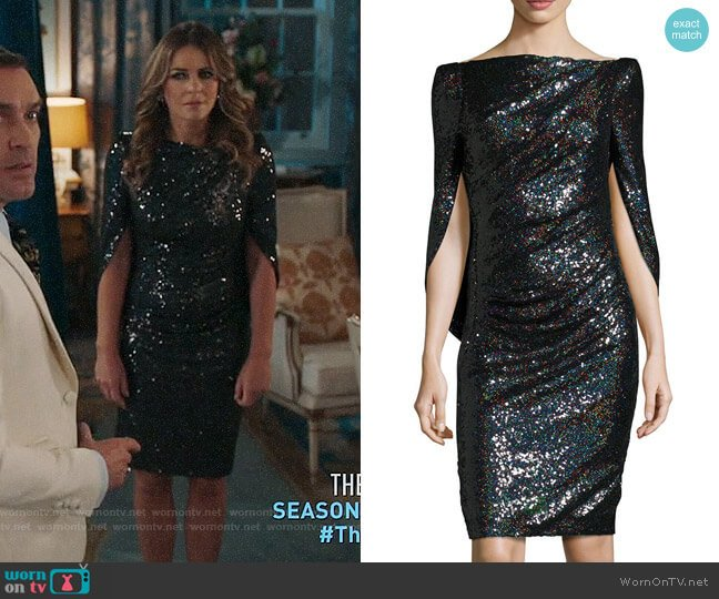 Talbot Runhof Konica Sequined Cape-Back Cocktail Dress worn by Queen Helena (Elizabeth Hurley) on The Royals