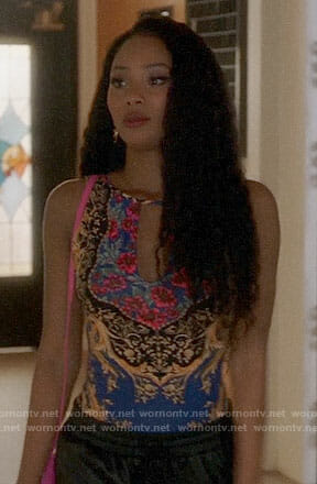 Tangey's printed bodysuit on Famous in Love