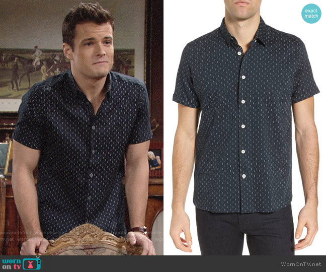 Ted Baker Franko Print Sport Shirt worn by Michael Mealor on The Young & the Restless