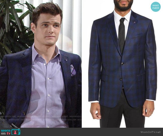 Ted Baker Jay Trim Fit Plaid Wool Sport Coat worn by Kyle Abbott (Michael Mealor) on The Young & the Restless