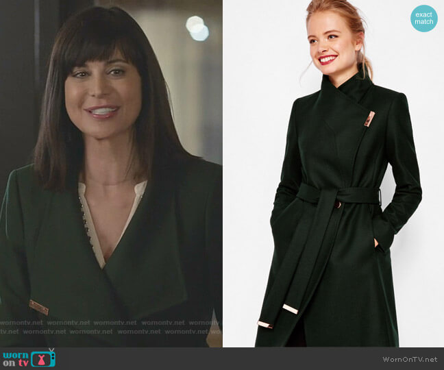 Kikiie Cashmere-blend Wrap Front Coat by Ted Baker worn by Cassandra Nightingale (Catherine Bell) on Good Witch