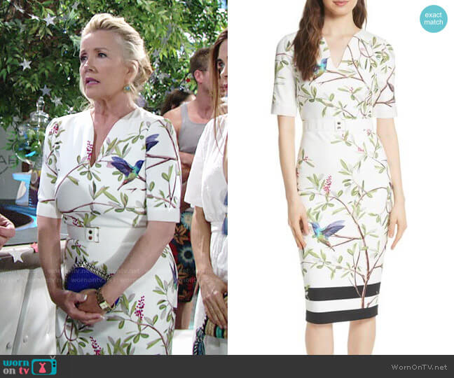 Ted Baker Evrely Highgrove Dress worn by Melody Thomas-Scott on The Young & the Restless