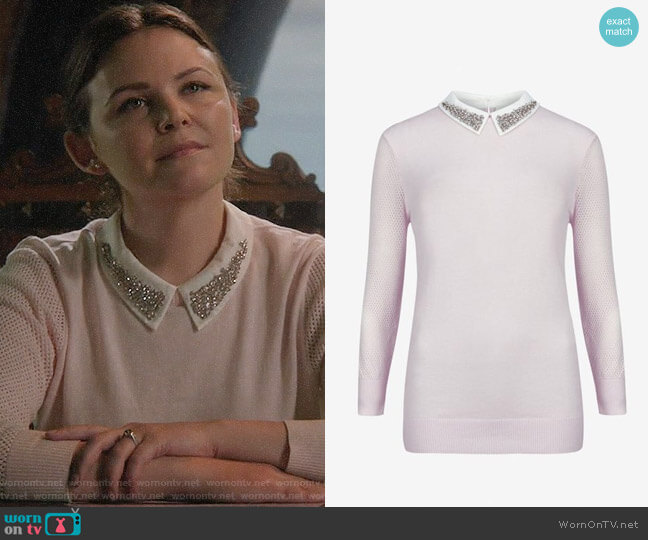 Ted Baker Pink Embellished Collar Sweater worn by Mary Margaret (Ginnifer Goodwin) on OUAT