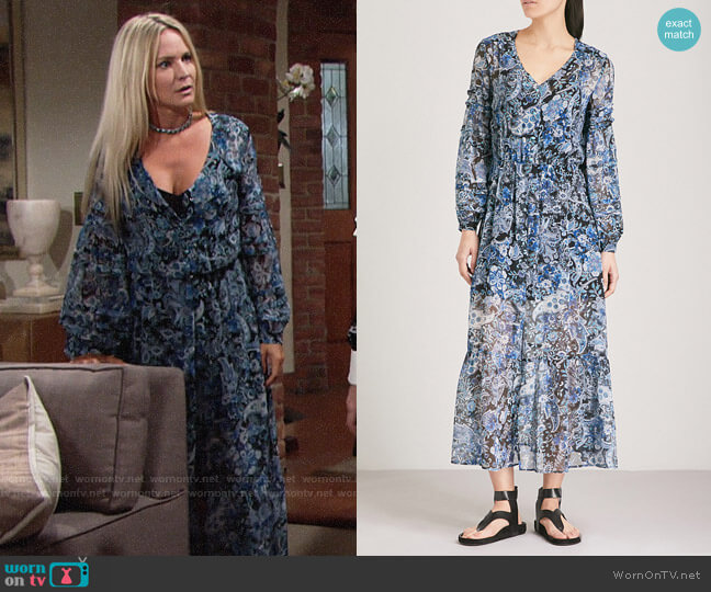 The Kooples Paisley-print Silk-muslin Midi Dress worn by Sharon Collins (Sharon Case) on The Young & the Restless