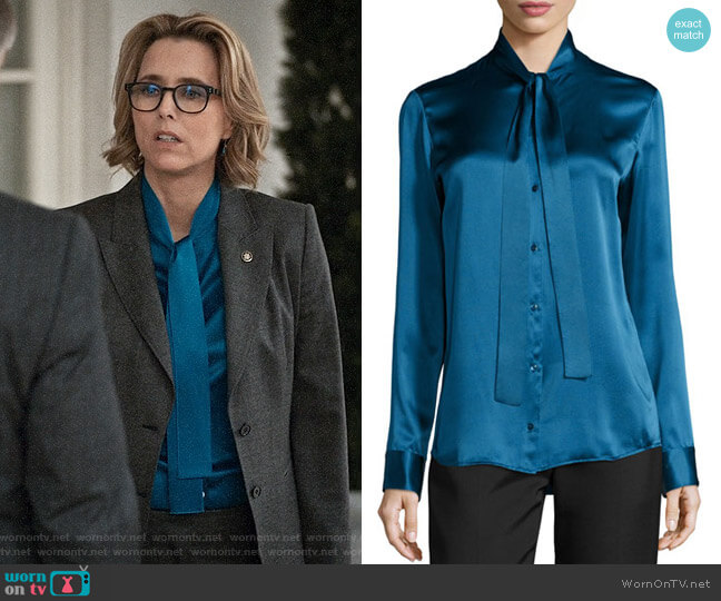 The Row Tipet Silk Tie-Neck Blouse worn by Elizabeth McCord (Téa Leoni) on Madam Secretary