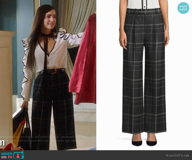 Theory Adamaris Plaid Trousers worn by Sofia Carson on Famous in Love
