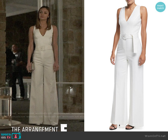 Theory Belted V-Neck Wide-Leg Wool-Blend Jumpsuit worn by Megan Morrison (Christine Evangelista) on The Arrangement