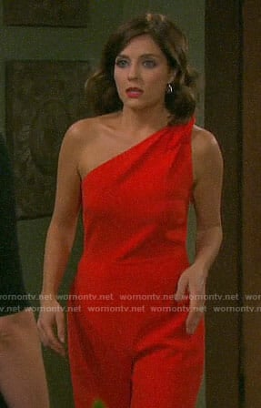 Theresa's red one-shoulder jumpsuit on Days of our Lives