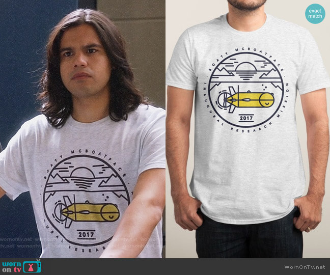 Threadless Boaty McBoatface Launch T-shirt worn by Carlos Valdes on The Flash