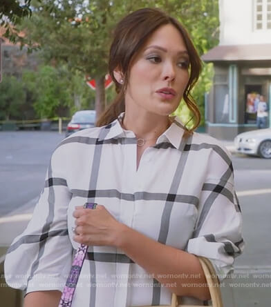 Camille's white striped lace-up back shirt on Splitting up Together