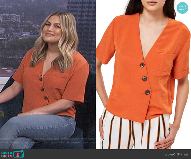 Ashley Asymmetrical Blouse by Topshop worn by Carissa Loethen Culiner  on E! News
