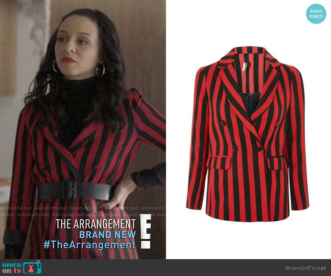 Topshop Humbug Stripe Double Breasted Blazer worn by Shaun (Carra Patterson) on The Arrangement