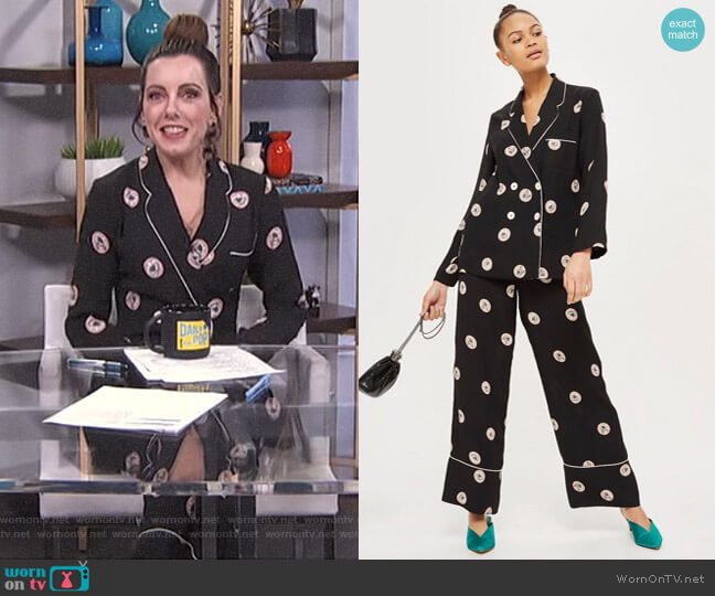 Printed Pyjama Jacket and Wide Leg Pants by Topshop worn by Melanie Bromley on E! News