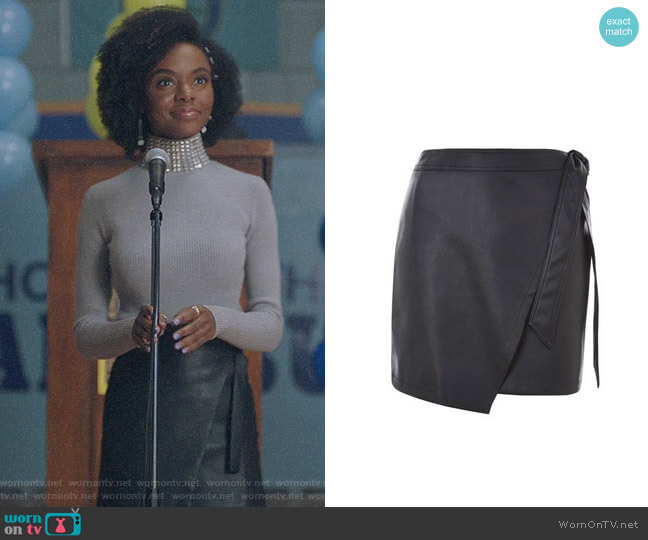 Topshop Wrap Tie PU Mini Skirt worn by Ashleigh Murray on Riverdale