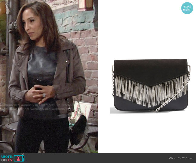 Topshop Remy Chain Flap Faux Leather Crossbody Bag worn by Lily Winters (Christel Khalil) on The Young & the Restless