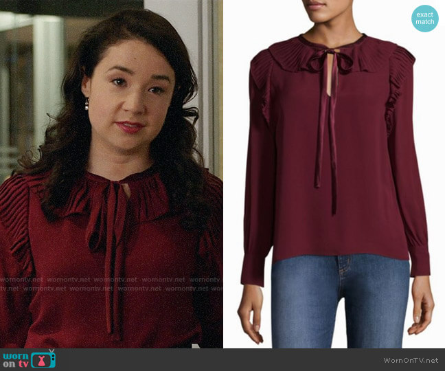 Tory Burch Diana Blouse worn by Marissa Gold (Sarah Steele) on The Good Fight