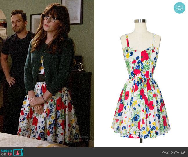 Trashy Diva Ruby Mini Dress in Wildflowers worn by Jessica Day (Zooey Deschanel) on New Girl