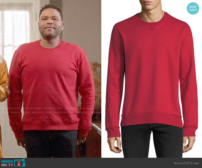 Valentino Studded-Trim Jersey Sweatshirt worn by Andre Johnson (Anthony Anderson) on Blackish