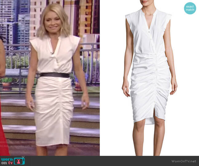 Veronica Beard Sleeveless Ruched Poplin Shirtdress worn by Kelly Ripa  on Live with Kelly & Ryan