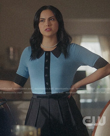 Veronica's blue top with black collar on Riverdale