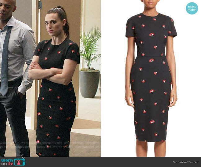 Victoria Beckham Flower Print Pencil Dress worn by Katie McGrath on Supergirl