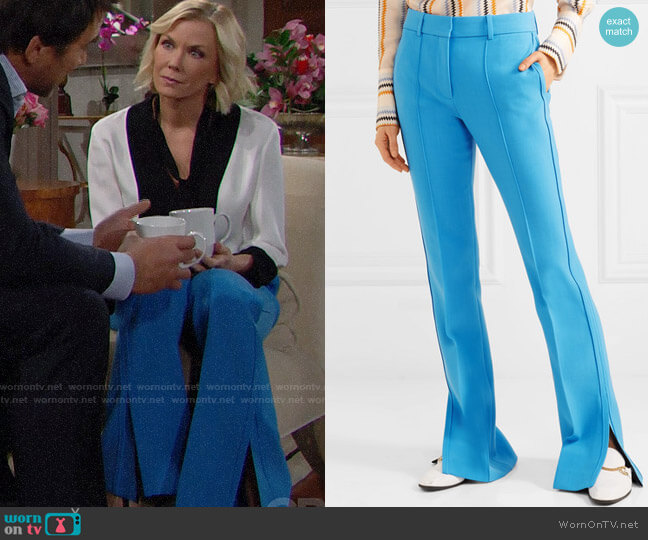 Victoria, Victoria Beckham Cady Flared Pants worn by Brooke Logan (Katherine Kelly Lang) on The Bold & the Beautiful