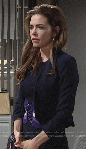 Victoria's navy dress with purple corset waist on The Young and the Restless