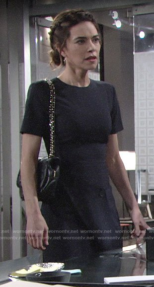 Victoria's pinstriped dress on The Young and the Restless