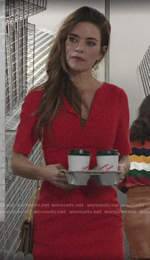 Victoria's red folded neck dress on The Young and the Restless