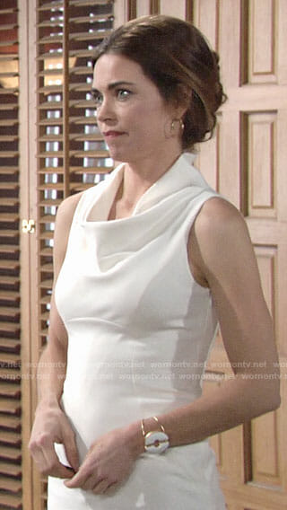 Victoria's white cowl neck dress on The Young and the Restless