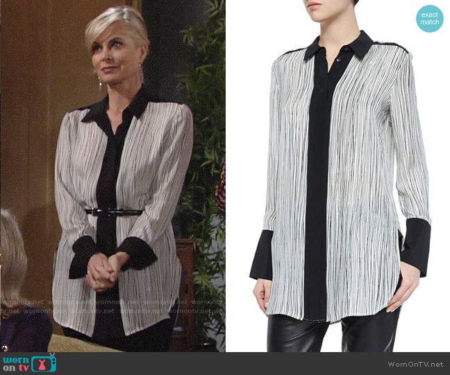 Vince Wavy Stripe Blouse worn by Ashley Abbott (Eileen Davidson) on The Young & the Restless
