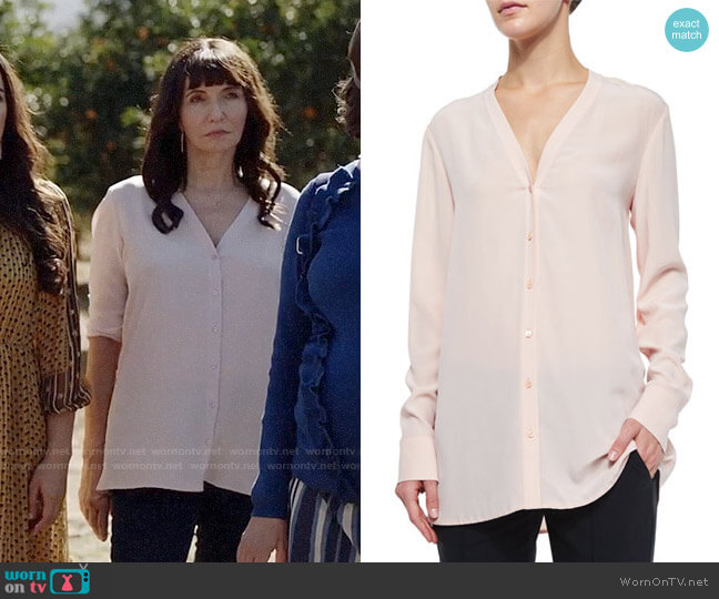 Vince V-Neck Button-Down Silk Blouse worn by Mary Steenburgen on Last Man On Earth