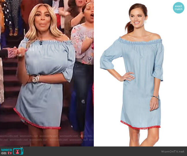 Off-the-Shoulder Pom Pom Dress by Wendy Williams worn by Wendy Williams on The Wendy Williams Show