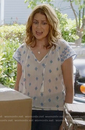 Lena's white print tassel top on Splitting up Together