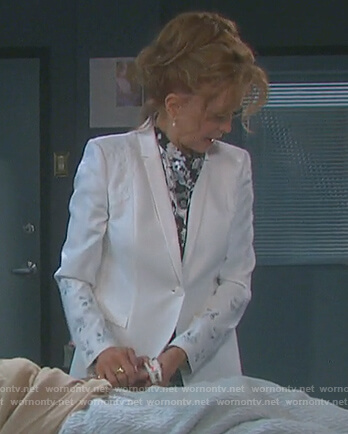Maggie's white floral applique blazer on Days or our Lives