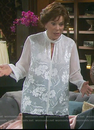 Vivian's white floral keyhole blouse on Days of our Lives