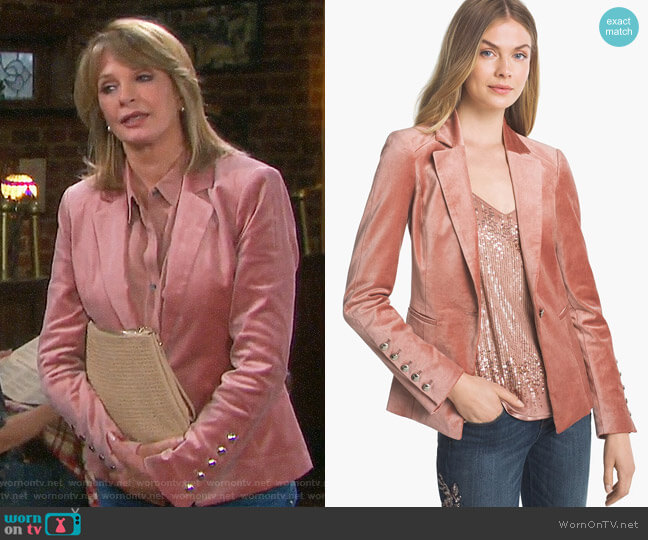 White House Black Market Velvet Blazer Jacket worn by Deidre Hall on Days of our Lives