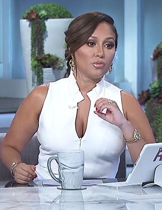 Adrienne's white sleeveless v-neck jumpsuit on The Real