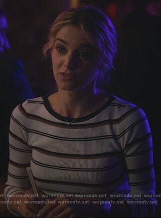 Lizzie's white striped long sleeve tee on Instinct
