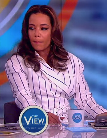 Sunny's white striped wrap dress on The View