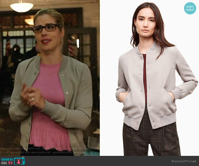 Wilfred Poussin Bomber worn by Felicity Smoak (Emily Bett Rickards) on Arrow