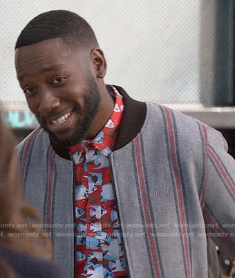 Winston's striped bomber jacket on New Girl