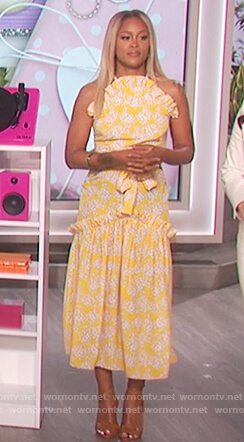 Eve's yellow floral print ruffle front dress on The Talk