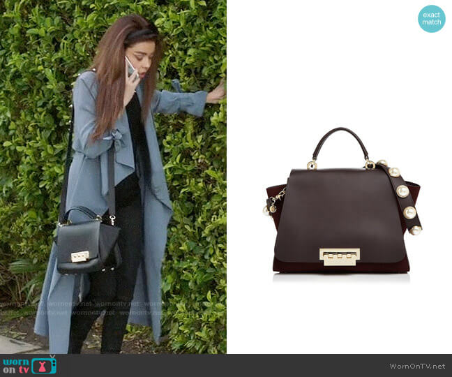 ZAC Zac Posen Eartha Iconic Faux-Pearl Strap Leather & Suede Satchel worn by Sarah Hyland on Modern Family