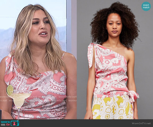 Asymmetric Printed Top by Zara worn by Carissa Loethen Culiner  on E! News