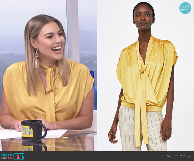 Crossover top with Tie Detail by Zara worn by Carissa Loethen Culiner on E! News