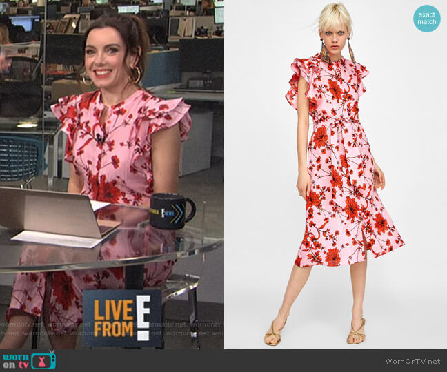 Floral Print Linen Tunic by Zara worn by Melanie Bromley  on E! News