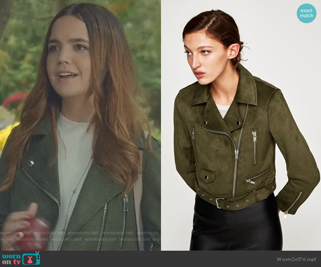 Faux Suede Biker Jacket in Olive Green by Zara worn by Bailee Madison on Good Witch