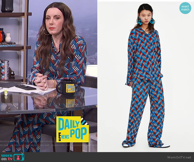 Geometric Print Shirt and Pants by Zara worn by Melanie Bromley (Melanie Bromley) on E! News