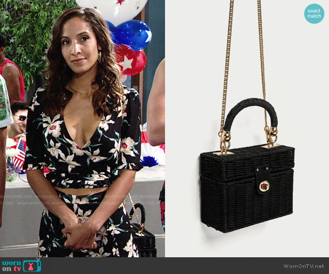 Zara Minaudiere Bag with Braided Handle worn by Christel Khalil on The Young & the Restless